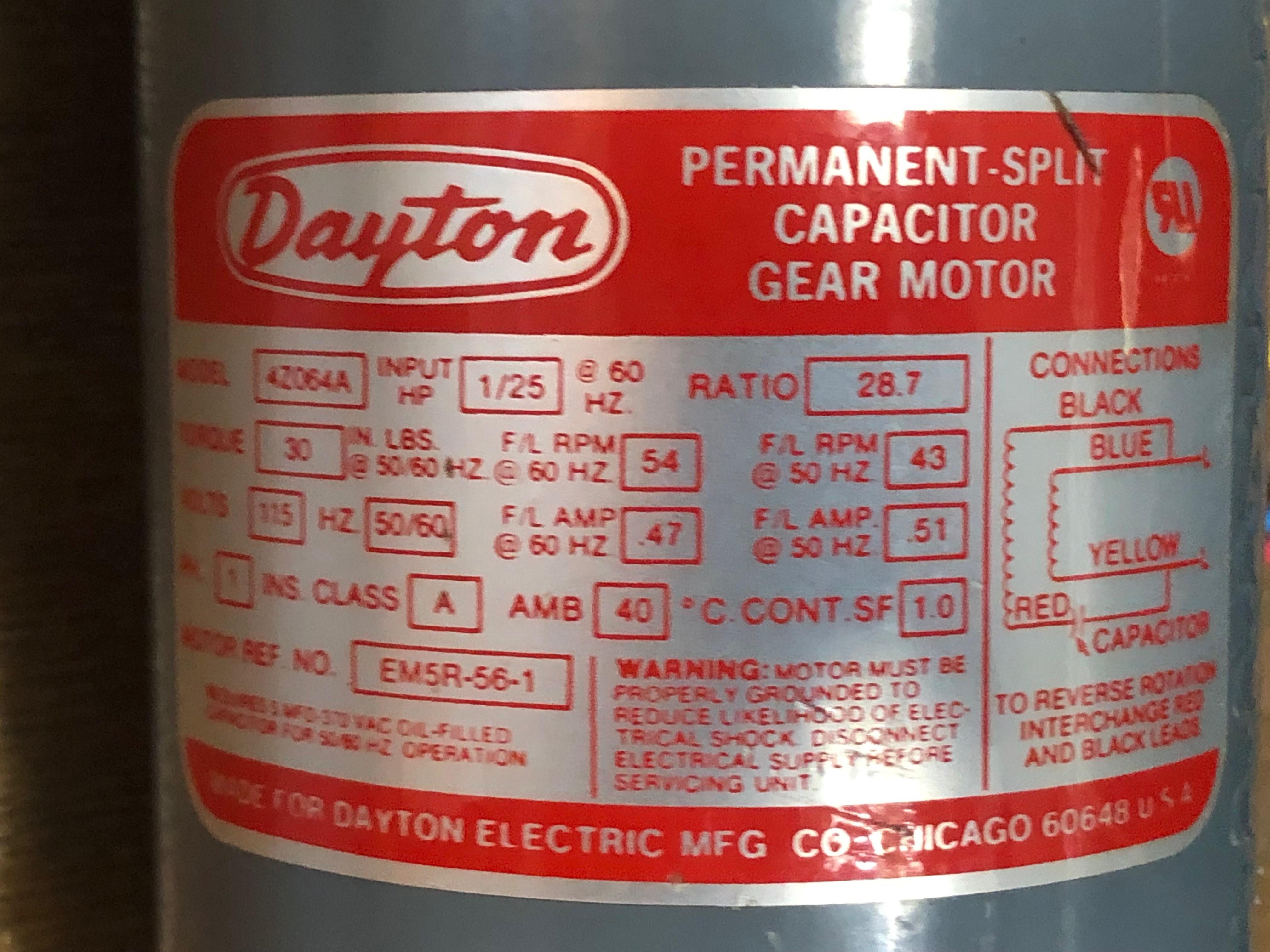 Motor electric Dayton new in box  115V Permanent-split capacitor gear motor