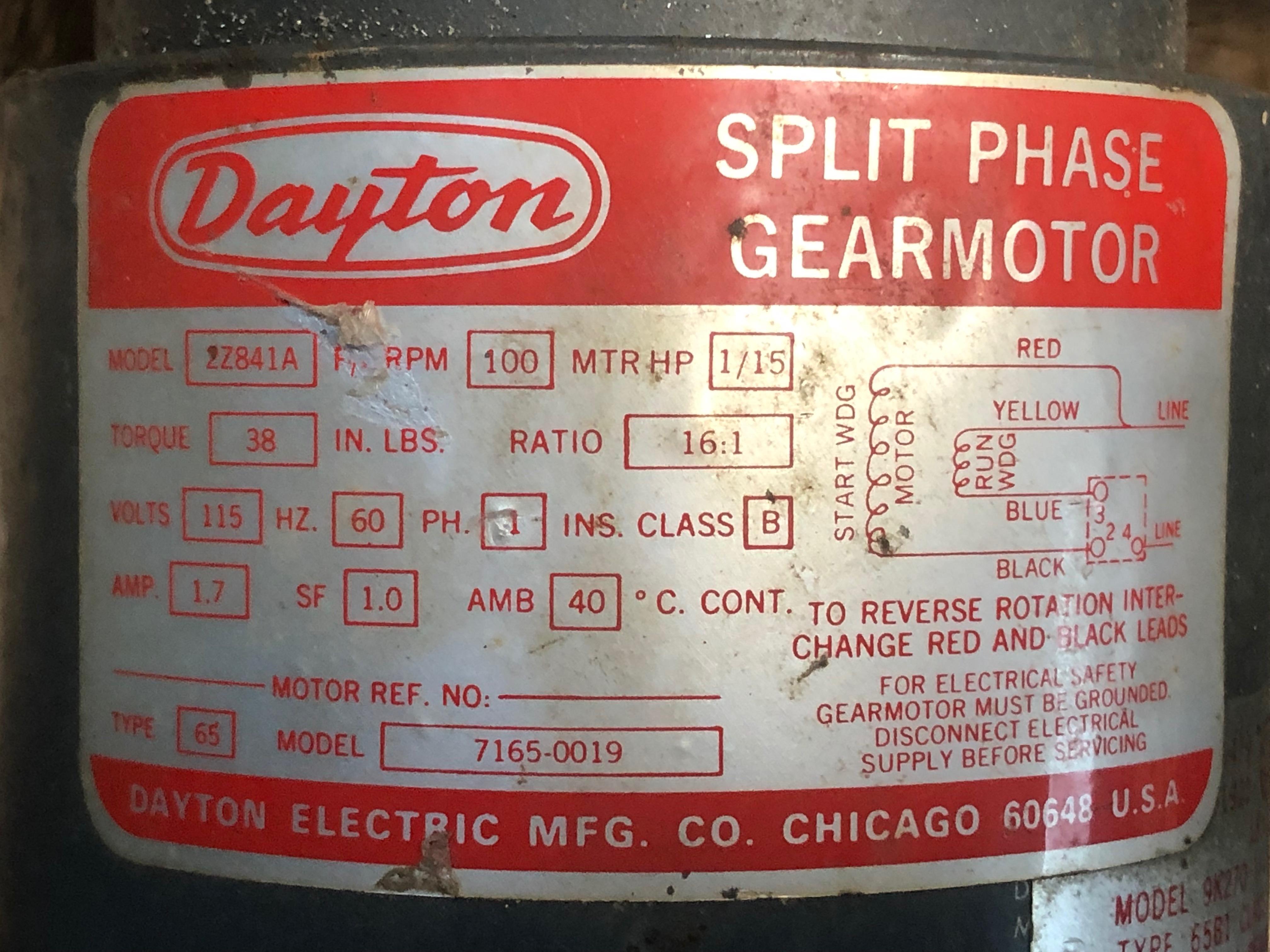Motor electric Dayton new in box  115V Split Phase gearmotor